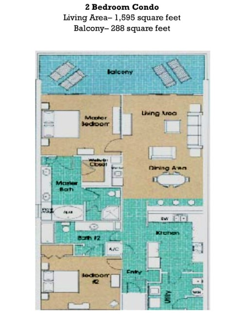 Floor Plan for Updated Princess Condo on the East End of Panama City Beach!