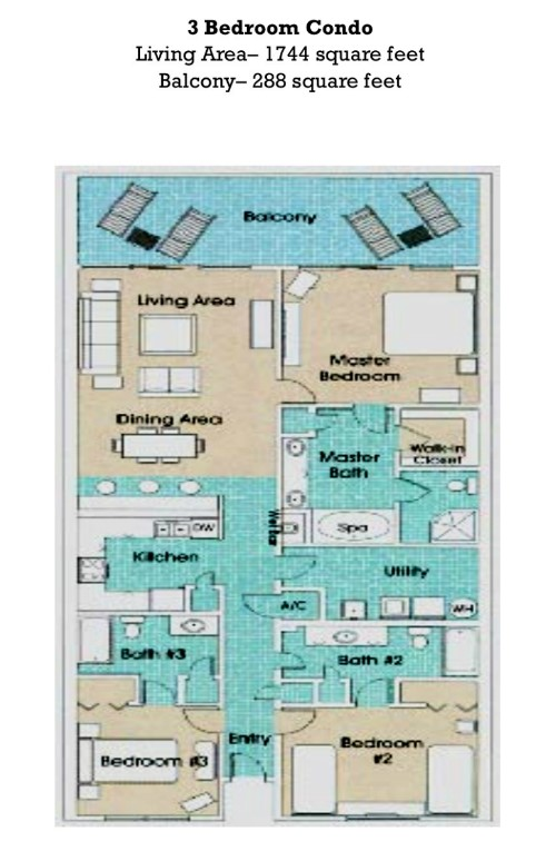 Floor Plan for Newly Updated 3/3 at the Princess!