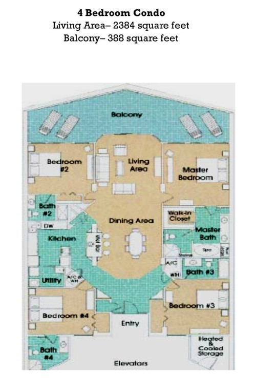 Floor Plan for Tropical Paradise, Beach Breezes and All The White Sandy Beach Views You Can Handle!